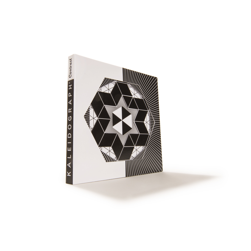 Kaleidograph Toy's Contrast Series: black and white kaleiscope-like patterns